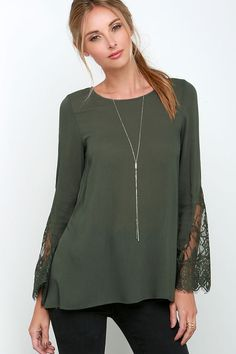 34093e8171215 Watching the Waves Olive Green Long Sleeve Lace Top