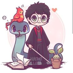 Every Artist loves Harry Potter fantasies so much and this passion for Harry Potter takes them to another level of creativity. Naomi Lord is an illustrator and artist. She created some fantastic Harry Potter art Harry Potter Anime, Harry Potter World, Harry Potter Kawaii, Memes Do Harry Potter, Images Harry Potter, Arte Do Harry Potter, Cute Harry Potter, Harry Potter Drawings, Harry James Potter
