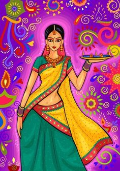 Illustration about Vector design of Indian woman with diya decoration for Diwali festival celebration in India. Illustration of light, festivity, decoration - 78149812 Diwali Painting, Diwali Drawing, India Painting, Woman Painting, Indian Women Painting, Indian Art Paintings, Madhubani Art, Madhubani Painting, Ganesha Painting