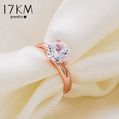 17KM New Fashion Charm High quality rose gold Color Brand designer lady wedding Crystal Zircon Ring jewelry for women