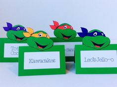 Teenage Mutant Ninja Turtles Cards,Invitations,Place Cards,Food Labels,Birthday Party Decorations Supplies Boy Girl by LoveToFiesta on Etsy