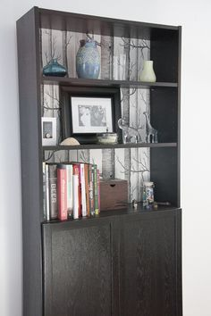 DIY wallpapered billy bookcase