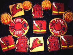 Firefighter cookies by Mary's Cookiepalooza Kinds Of Cookies, Fancy Cookies, Valentine Cookies, Cut Out Cookies, Royal Icing Cookies, Birthday Cookies, Holiday Cookies, Sugar Cookies, Fireman Wedding