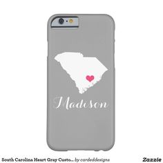 South Carolina Heart Gray Custom Monogram Barely There iPhone 6 Case