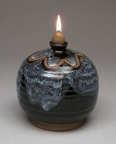 Oil Lamp in Sandy Brown Ceramic Oil Lamp Pottery by ktotten ...