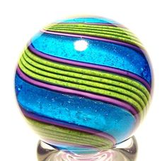 "exotic glass paperweights | Eddie Seese Art Glass 1 3 8"" Exotic Dichroic Turquoise Double Twist ..."