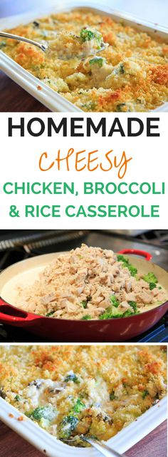 Cheesy Chicken, Broccoli & Rice Casserole - A homemade recipe for chicken, broccoli and rice casserole made completely from scratch with a cheesy cream sauce and topped with buttered breadcrumbs. | browneyedbaker.com: