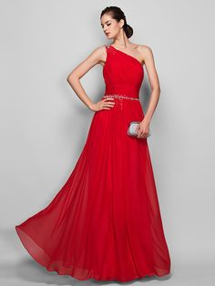 Sheath/Column One Shoulder Floor-length Chiffon Evening/Prom Dress | LightInTheBox