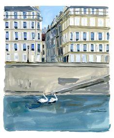île Saint-Louis swann couple A Paris Journal, August Editions. Jean Philippe, Watercolor And Ink, St Louis, Tokyo, Illustration Art, Outdoor Decor, Couple, Journal, Drawing
