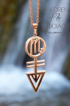 """Harness the power of the stars with this Scorpio Zodiac Necklace. A subtle reminder of that which you are destined for.  ★ The Vertical Scorpio Necklace from the """"Children Of The Zodiac"""" collection by Patrick Simon consists of the Scorpio astrological symbol, Water alchemical symbol, which is the ruling element associated with Scorpio and the Iron alchemical symbol, which is the ruling metal associated with the Scorpio sign."""