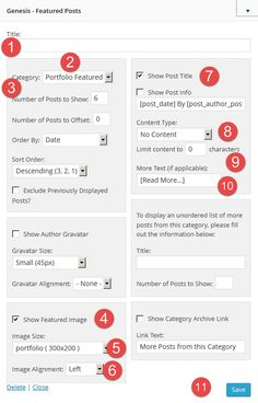 Widgets Portfolio Page Template Settings