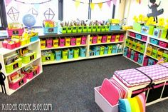 organized kindergarten classroom library | love the bright colours used here ... great classroom.