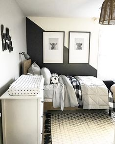 Modern Black And White Bedroom Design Ideas Bedrooms Black and white bedroom decor is extremely popular, but it does take some planning and creativity to bring your bedroom in this theme to life. You wan. Boy Bedroom Design, White Bedroom, Room, Baby Boy Rooms, Toddler Bedrooms, Bedroom Decor, Childrens Bedrooms, White Kids Room, Big Boy Bedrooms