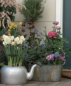 ~Gardening - Flea market finds come to life as containers for pots of flowers~