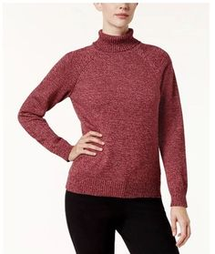 94646b8b5a Karen Scott Cotton Turtleneck Sweater Size Small Women s Burgundy Merlot   fashion  clothing  shoes