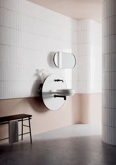 Arco multifunctional bathroom system by Spanish design studio Mut for Ex. Wc Decoration, Pedestal Basin, Mirror Inspiration, Dining Buffet, Behind The Glass, Turbulence Deco, Spanish Design, Parisian Apartment, French Apartment