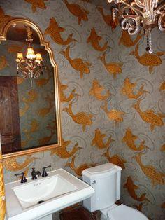 Koi Fish Wallpaper Osborne And Little Goldfish Wallpaper, Koi Wallpaper, Bathroom Wallpaper, Fabric Wallpaper, Bathroom Inspiration, Interior Inspiration, Osborne And Little, Downstairs Toilet, Downstairs Cloakroom