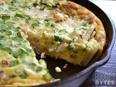 (Sub sweet potatoes and exclude cheese) Ham & Potato Frittata - Budget Bytes Potato Frittata, Frittata Recipes, Omelet, Breakfast Dishes, Breakfast Recipes, Breakfast Ideas, Breakfast Quiche, Free Breakfast, Good Food