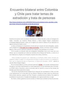 Encuentro bilateral entre Colombia y Chile para tratar temas de extradición y trata de personas