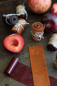 HOW TO INSTRUCTIONS:Persian version of fruit leather. It's the inherent tart and sour qualities that I love so much – not too sweet, super fragrant and deliciously chewy. Lavashak (Fruit Leather) by HonestlyYUM Homemade Fruit Leather, Fruit Leather Recipe, Raw Food Recipes, Dessert Recipes, Cooking Recipes, Vegetarian Desserts, Jar Recipes, Freezer Recipes, Freezer Cooking