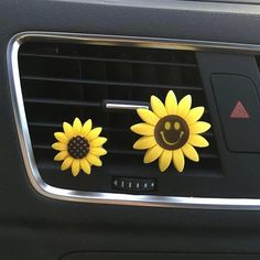 Bling Your Ride-Set of 2 Sunflowers Smiley Face Car Air Vent Decoration with Freshener DIY clip FEATURES Set of 2 cute yellow daisies are included. Fits both vertical and horizontal air conditioning vent grille bar. Easy install and remove. Smiley Faces, Inside Car, Flower Perfume, Custom Car Interior, Interior Design, Cute Car Accessories, Vehicle Accessories, Girly Car, Truck Accessories