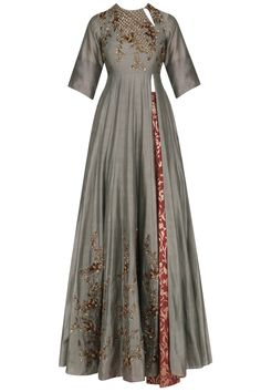 Grey floral embroidered anarkali kurta and skirt set available only at Pernia's Pop Up Shop.