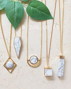 JShine Design Sweater Long Pendant Necklace Women Marble Geometric Stone Gold Color Bayan Kolye Charm Fashion Jewelry Necklaces