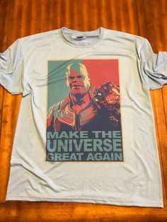 Marvel Shirt // Thanos Make the Universe Great Again // Avengers Infinity War Shirts Marvel Jokes, Marvel Funny, Marvel Avengers, Comic Clothes, Marvel Clothes, Friend Jokes, Marvel Shirt, Dc Memes, Fandom Outfits