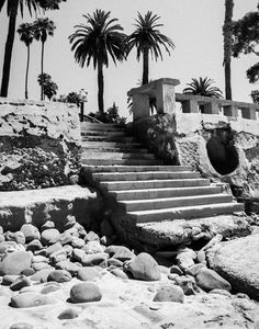 Stairway to Butterfly Beach in Santa Barbara, CA  Black & White Fine Art Photographic Print in Various Sizes