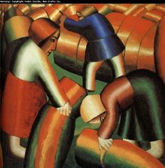 "Taking in the Harvest - Kazimir Severinovich Malevich - Oil on canvas, 72 x cm. Taking in the Harvest, also known as Taking in the Rye, is one of the most ""radical"" expressions of the Cubo-Futurist movement August Macke, Franz Marc, Amsterdam, George Grosz, Kazimir Malevich, Russian Avant Garde, Ukrainian Art, Art Moderne, Art Abstrait"