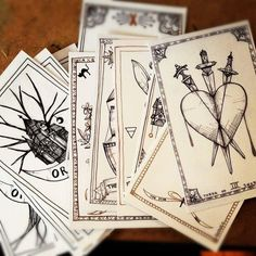 black and white tarot deck.