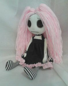 Gothic Rag Doll  Lizy the pastel goth by ChamberOfDolls on Etsy, £27.50