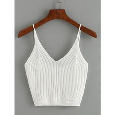 Ribbed Knit Crop Cami Top - White (235.200 IDR) ❤ liked on Polyvore featuring tops, crop tops, shirts, white, ribbed knit crop top, cami top, white camisole top, white shirts and white spaghetti strap top