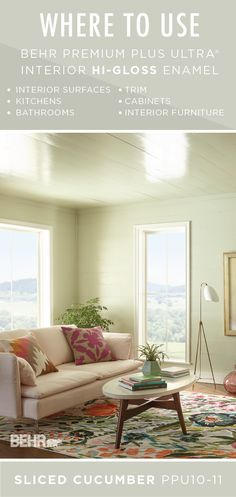 Give the high-use interior surfaces of your home a little extra love with BEHR Premium Plus Ultra Interior Hi-Gloss Enamel in Sliced Cucumber. This light green paint color creates a calming neutral color palette while also offering a durable finish on this ceiling and trim that is resistant to moisture, stains, and scuffs. Learn more by clicking here.