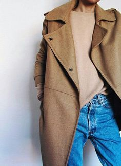 Pepamack. Camel coat and denim.