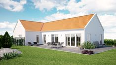 Strandlyckan Alt 2 - Varbergshus Country House Plans, Country Farmhouse, Modern Farmhouse, Style At Home, Prefab Cottages, House Designs Ireland, Metal Barn Homes, Weekend House, Cottage Exterior