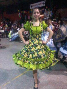 "Chilean ""China"" dress - vestido de China chilena Dance Dresses, Girls Dresses, Summer Dresses, Pretty Dresses, Beautiful Dresses, Clogs Outfit, Blue Shorts, Dance Costumes, Fashion Outfits"