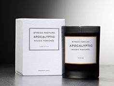 Byredo Candles Apocalyptic $80: Far from fire and brimstone, Apocalyptic is a wonderfully warm, wood fragrance that opens with the hot metal notes of fire irons melded with the glorious, rare, black raspberry from Oregon. At the centre of Apocalyptic, the scents of ancient papyrus and oakmoss conjure great age while at the base, warm dark woods and the smouldering birch hint at depleted primordial forests.
