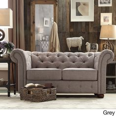 TRIBECCA HOME Knightsbridge Linen Tufted Scroll Arm Chesterfield Loveseat - Overstock Shopping - Great Deals on Tribecca Home Sofas & Loveseats