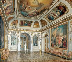 An elaborately decorated Baroque salon at Lazienki Palace in Warsaw.