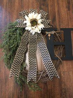 Monogrammed Cream Sunflower Grapevine Wreath with Black Chevron Burlap Bow…