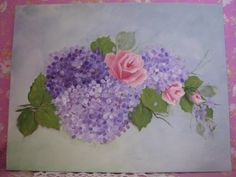 Hand Painted Pink Roses Hydrangeas Wall Decor by pinkrose1611