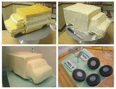 Ambulance Cake Tutorial - or any truck Cake Decorating Techniques, Cake Decorating Tutorials, Cookie Decorating, 3d Cakes, Fondant Cakes, Cupcake Cakes, Ambulance Cake, Ems Ambulance, Truck Cakes
