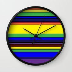 Complex Stripes - Rainbow Wall Clock by laec Rainbow Wall, Clocks, Stripes, Creative, Artist, Artwork, Work Of Art, Auguste Rodin Artwork