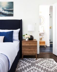 White Living room Love the ocean picture above bed