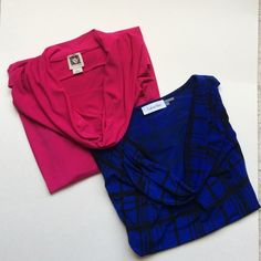 """New Listing2 Drape Neck Dress Tanks What a perfect pair!   These gorgeous drape neck shirts can be worn with anything. Dress up or down.  Brand: Pink - Anne Klein; Blue - Calvin Klein; Size: Both Large; Material: Pink - 95% Polyester/5% Elastane; Blue - 95% Polyester/5% Spandex; Measurements: Pink - Length 24""""/Bust 22""""; Blue - Length 22.5""""/Bust - 21"""" Calvin Klein Tops"""