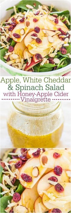 Apple, White Cheddar, and Spinach Salad with Honey-Apple Cider Vinaigrette - The flavors just POP in this fast, easy, and healthy salad! Used SHARP aged white cheddar which gave it an excellent flavor. Vegetarian Recipes, Cooking Recipes, Healthy Recipes, Vegetarian Salad, Fruit Recipes, Apple Recipes, Healthy Salads, Healthy Eating, Taco Salads