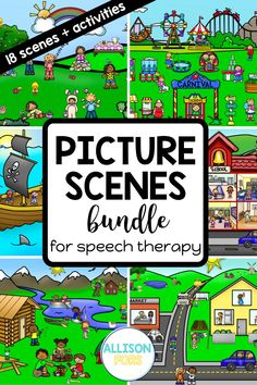 Use these popular language scenes to target many speech and language goals! You will save money by purchasing my GROWING BUNDLE, which includes 17 different language scenes so far, PLUS you will get NEW ones as I add them for NO ADDITIONAL COST! You can print these out or open on a device for a NO PREP, NO PRINT option. These are perfect for speech therapy or teletherapy with kids in kindergarten, 1st, 2nd, & 3rd grade. Speech Therapy Activities, Language Activities, Speech Language Therapy, Speech And Language, Nouns And Pronouns, Problem Solving Activities, Writing Pictures, Wh Questions, Second Grade