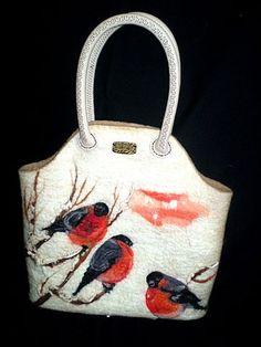 Felted handbag The Bullfinches Cool Winter by AlexandraApratova, $175.00