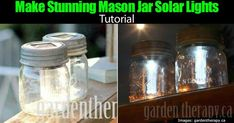 Mason jars make great storage as well as a design material in many DIY projects. This time, we teach you on how to make mason jar solar lights. Canning Jar Lights, Hanging Mason Jar Lights, Mason Jar Pendant Light, Ball Canning Jars, Mason Jar Light Fixture, Mason Jar Lighting, Light Fixtures, Solar Shed Light, Solar Light Crafts